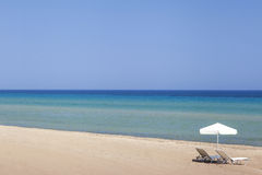 Sunbeds on the beach in Greece, Zakynthos Stock Photography