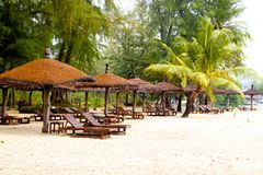 Sunbeds on the beach, Koh Chang in Thailand. Royalty Free Stock Photography