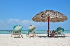 Sunbeds  on the beach near the sea. Royalty Free Stock Photo