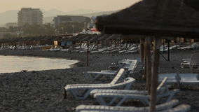 Sunbeds at Beach Near By Sea stock video footage