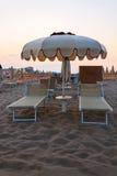 Sunbeds on the beach Stock Photo