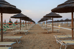 Sunbeds on the beach Stock Image