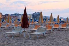 Sunbeds on the beach Royalty Free Stock Photos