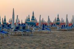 Sunbeds on the beach Stock Photography