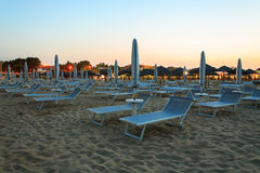 Sunbeds on the beach Royalty Free Stock Image