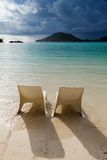Sunbeds on the beach in Seychelles Royalty Free Stock Images