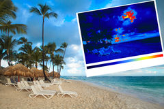 Sunbeds on the beach and thermal imaging Royalty Free Stock Photo