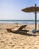 Sunbeds on the beach. Sunbeds on the tropical beach on the Atlantic Ocean in Gambia. Africa royalty free stock photos