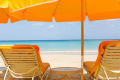Sunbeds at the beach Royalty Free Stock Photography