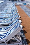 Sunbeds On Beachfront Of Nice Stock Images