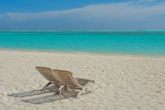 Sunbeds at the beautiful beach at the tropical island at resort. At Maldives Royalty Free Stock Photos