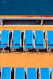 Sunbeds on boat stock photography