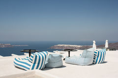 Sunbeds with a Caldera view Stock Images