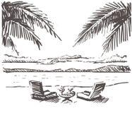 Sunbeds con una mesa redonda en la Palm Beach arenosa Ejemplo exhausto del bosquejo de la mano de Samui libre illustration