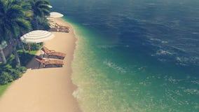 Sunbeds e parasóis na praia tropical ilustração stock
