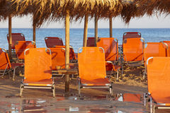 Sunbeds at Elafonisi beach in Crete. Greece Royalty Free Stock Images