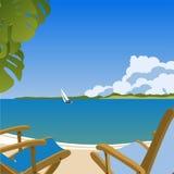 Sunbeds en la playa Ilustración del Vector