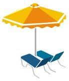 Sunbeds en paraplu stock illustratie