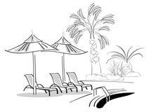 Sunbeds en paraplu's dichtbij zwembad stock illustratie