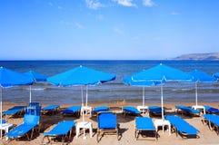 Sunbeds at Georgiopolis horizontal Stock Photography