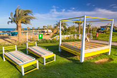 Sunbeds στην παραλία του τροπικού θερέτρου σε Hurghada Στοκ Εικόνα