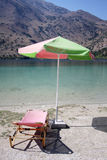 Sunbeds on Kournas lake. Crete Stock Photography