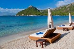 Sunbeds luxuosos da praia Fotos de Stock Royalty Free