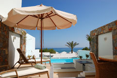 Sunbeds at the luxury villa Stock Image