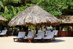 Sunbeds on the Nha Trang beach. Vietnam stock image