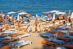 Sunbeds on Odessa beach Stock Images