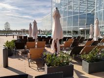 Sunbeds outside. At Therme Bucharest, Balotesti, Romania royalty free stock photos