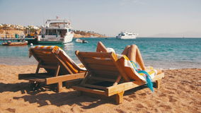 Sunbeds Overlooking the Red Sea stock footage
