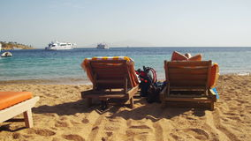 Sunbeds Overlooking the Red Sea stock video footage