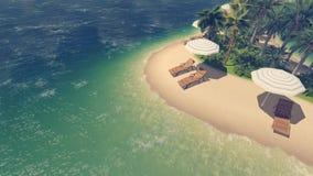 Sunbeds, parasóis e palmas na praia tropical ilustração stock