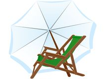 Sunbeds and parasol Royalty Free Stock Photos
