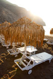 Sunbeds in Perissa, Santorini, Greece Stock Image