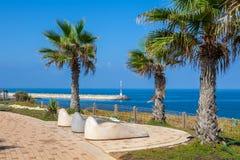 Sunbeds on promenade in Ashkelon, Israel. Royalty Free Stock Photos
