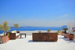 Sunbeds on Santorini Royalty Free Stock Image