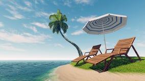 Sunbeds, slags solskydd och palmträd på den tropiska stranden Royaltyfria Bilder