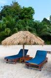 Sunbeds sob o sol na ilha tropical Imagem de Stock Royalty Free