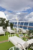 Sunbeds on sundeck of the cruise ship Royalty Free Stock Photos