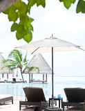 Sunbeds beside the swimming pool in Maldives Stock Photography
