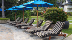 Sunbeds in tropical resort hotel. Resort pool with sunbeds near the tropical beach Stock Image