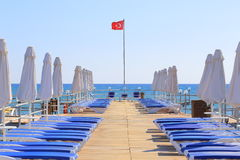 Sunbeds in Turkey Royalty Free Stock Photo