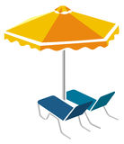 Sunbeds and umbrella Stock Photos
