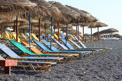Sunbeds and umbrellas Royalty Free Stock Image