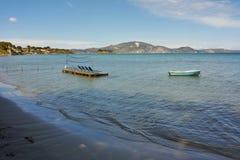 Sunbeds in the water, koukla beach, Zakynthos island, Greece Royalty Free Stock Photo