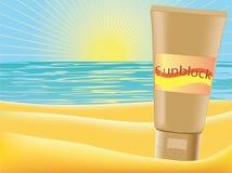 Sunblock. Vector illustration of a sunblock on a beach Royalty Free Stock Photography