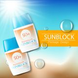 Sunblock-Anzeigenschablone, Sonnenschutzkosmetikprodukte Illustration 3D für Zeitschrift oder Anzeigen Flasche Konzeption des Pro lizenzfreie abbildung