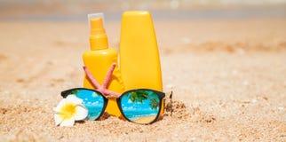 sunblock on the beach. Sun protection. Selective focus
